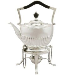 1890s Victorian Queen Anne Style Sterling Silver Spirit Tea Kettle