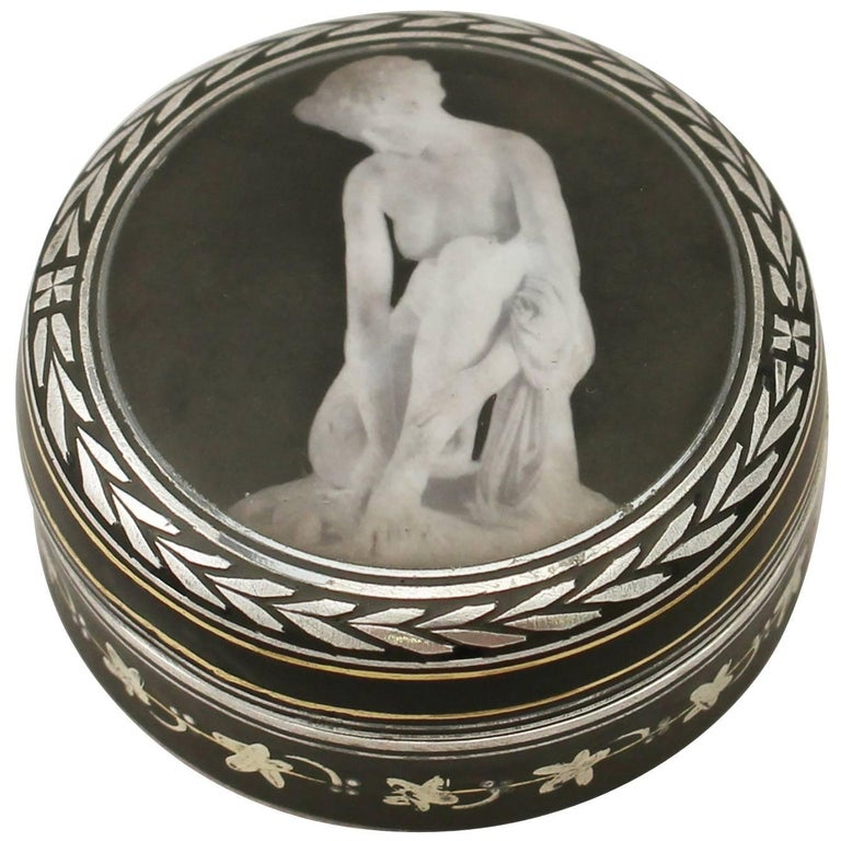 Antique Continental Sterling Silver and Transfer Printed Box For Sale
