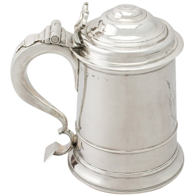 Early Georgian Antique Newcastle Sterling Silver Tankard