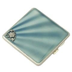 Antique George V Sterling Silver, Enamel and Marcasite Cigarette Case