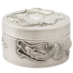 Antique Chinese Export Sterling Silver Box, circa 1890