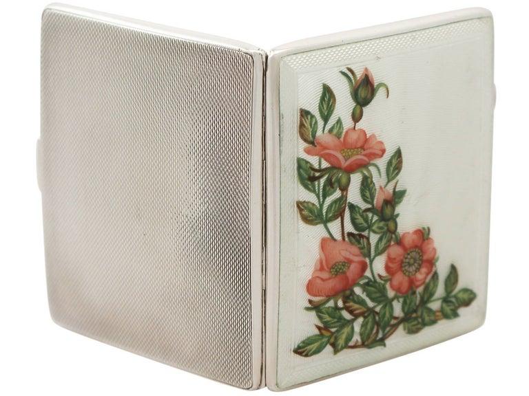 Late 20th Century Elizabeth II Sterling Silver and Enamel Cigarette Case - Vintage For Sale