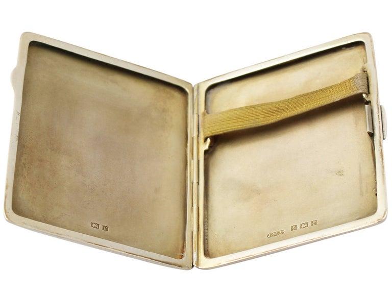 Elizabeth II Sterling Silver and Enamel Cigarette Case - Vintage For Sale 1