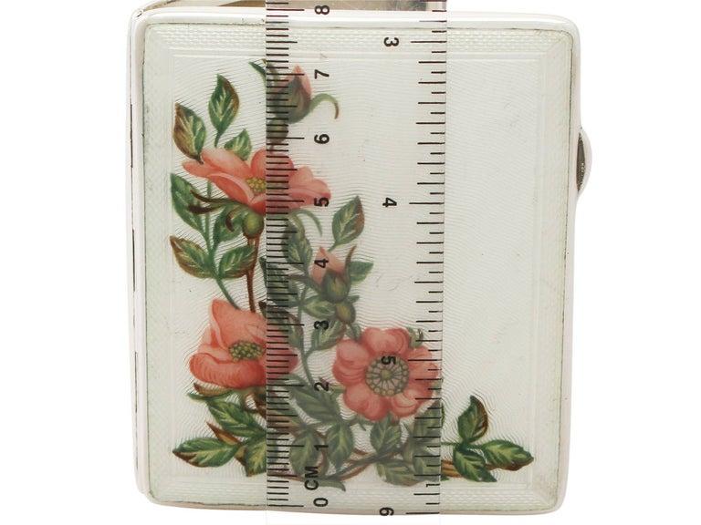 Elizabeth II Sterling Silver and Enamel Cigarette Case - Vintage For Sale 4