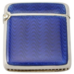 Antik norwegischen Sterling Silber blau Guilloche Emaille Vesta Fall