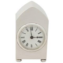 Antique English Sterling Silver Boudoir Clock, Antique George V