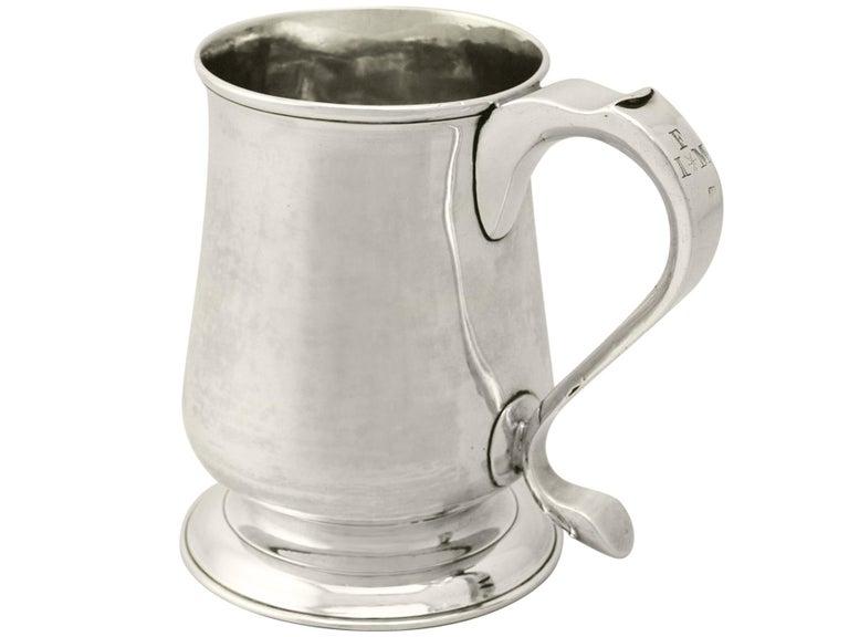 English Newcastle Sterling Silver Pint Mug by John Langlands I & John Robertson I 329g For Sale