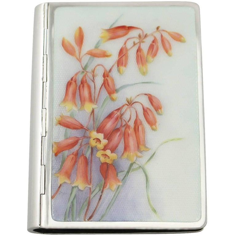 Vintage German Silver and Enamel Card Case, circa 1940 For Sale