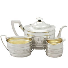 Large Georgian English Sterling Silver Three-Piece Tea Service