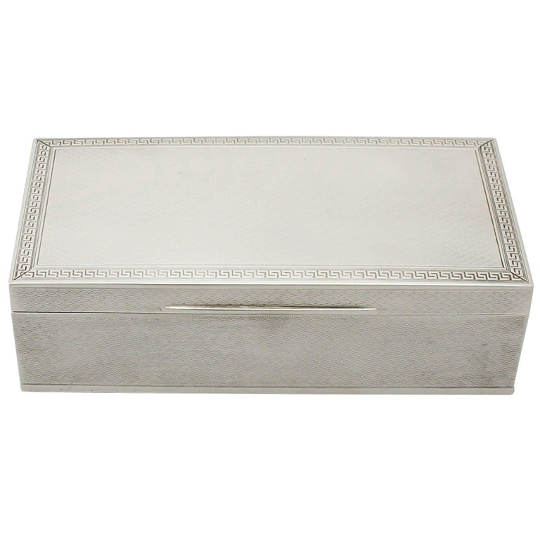 Antique George V Sterling Silver Jewelry Box For Sale