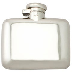 Antique George V Sterling Silver Hip Flask