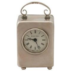 Sterling Silver Miniature Boudoir Clock, circa 1980