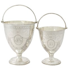 Antique George III Pair of Sterling Silver Sugar Baskets