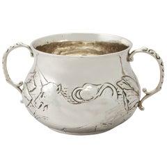 Antique George V Charles II Style Britannia Standard Silver Porringer