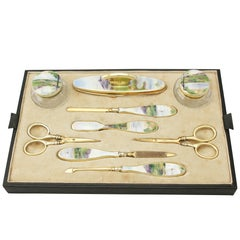 Antique 1920s Sterling Silver Cut Glass and Enamel Dressing Table Set