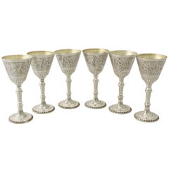1970s Elizabeth II Set of Six Sterling Silver Goblets by Mappin and Webb