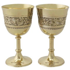 Antique Victorian Pair of Sterling Silver Gilt Goblets, 1877