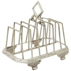Antique Victorian Sterling Silver Toast/ Letter Rack, 1841