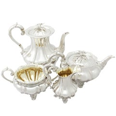 Antique Sterling Silver Melon Style Four-Piece Tea and Coffee Service