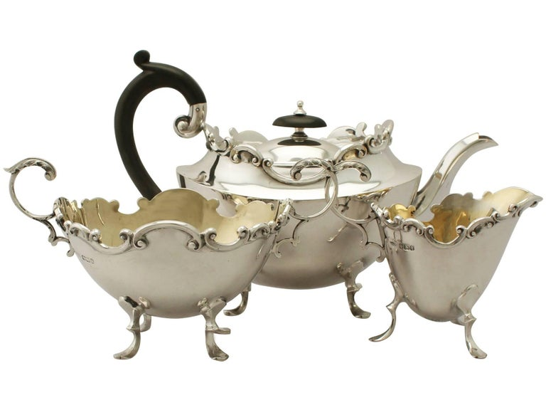 An exceptional, fine and impressive antique Victorian English sterling silver three piece tea set/service - boxed; part of our silver teaware collection.