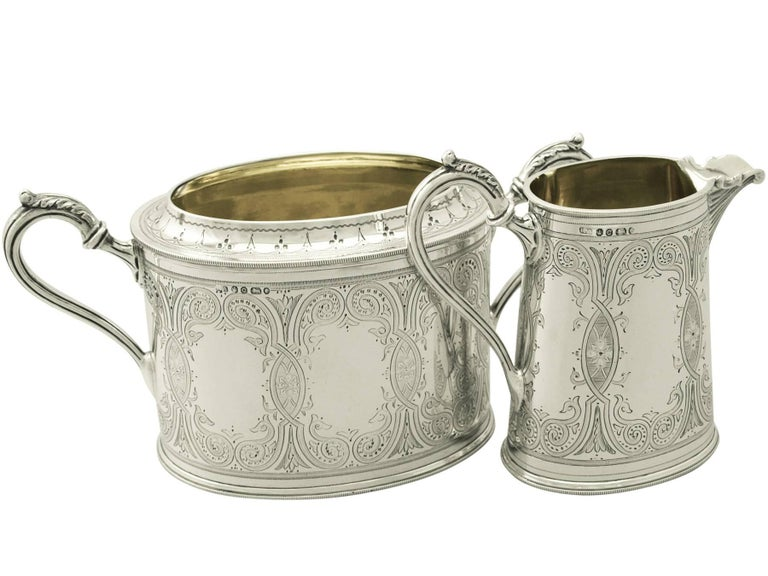 Antique Victorian Sterling Silver Four-Piece Tea and Coffee Service, 1870 For Sale 4
