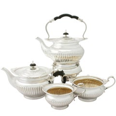 Antique Edwardian Queen Anne Style Sterling Silver Four-Piece Tea Service