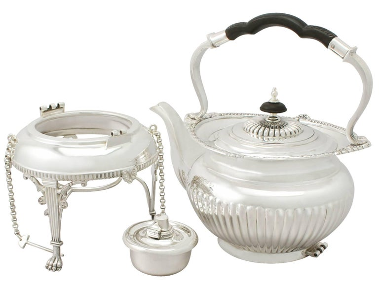 Great Britain (UK) Antique Edwardian Queen Anne Style Sterling Silver Four-Piece Tea Service For Sale