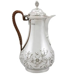 Sterling Silver Hot Water or Coffee Jug - Antique Victorian