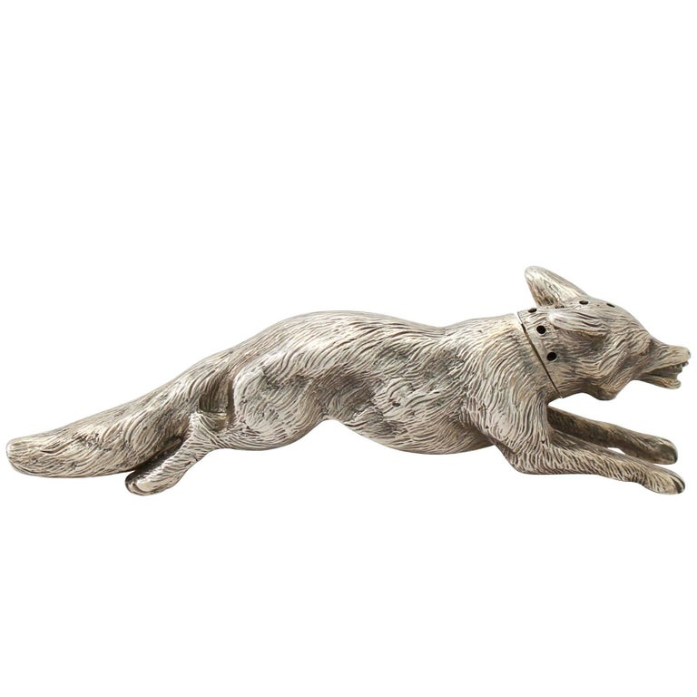 Antique English Sterling Silver Fox Pepperette For Sale