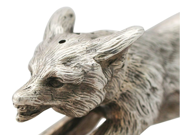 Antique English Sterling Silver Fox Pepperette For Sale 2