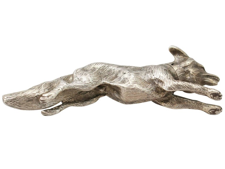 Antique English Sterling Silver Fox Pepperette For Sale 3