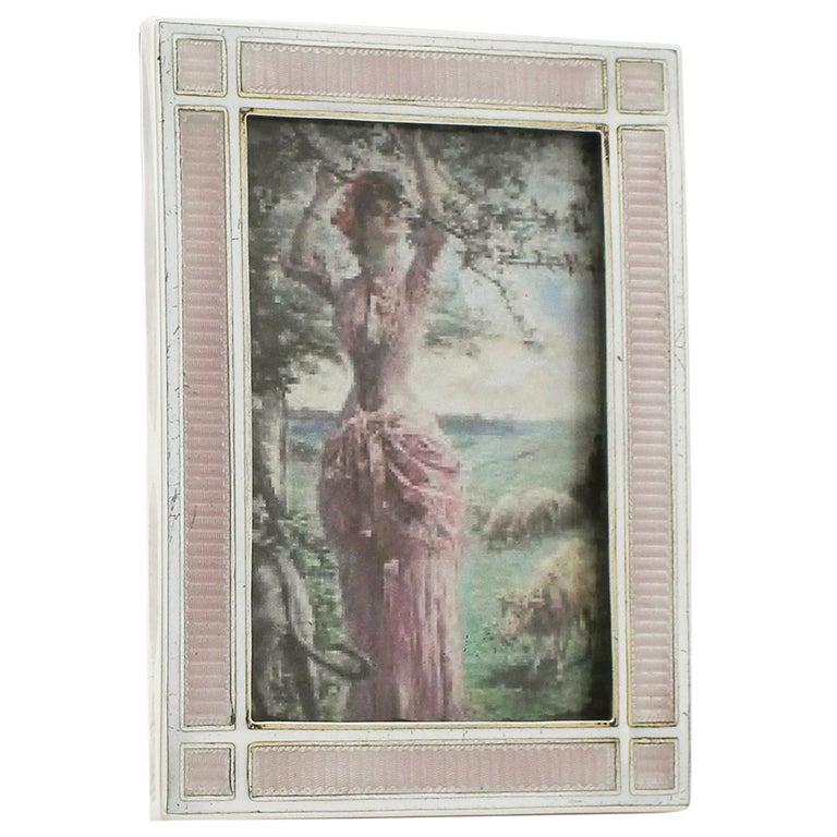 Antique Edwardian Sterling Silver and Enamel Photograph Frame For Sale