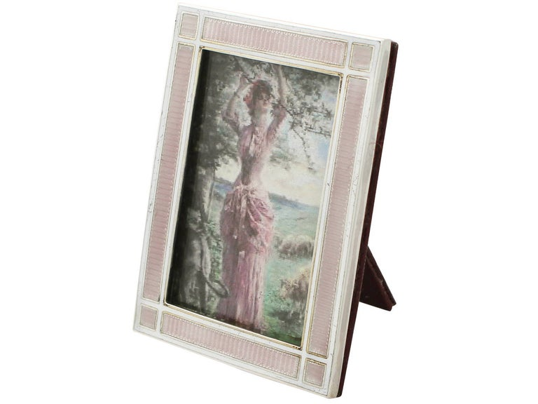 English Antique Edwardian Sterling Silver and Enamel Photograph Frame For Sale