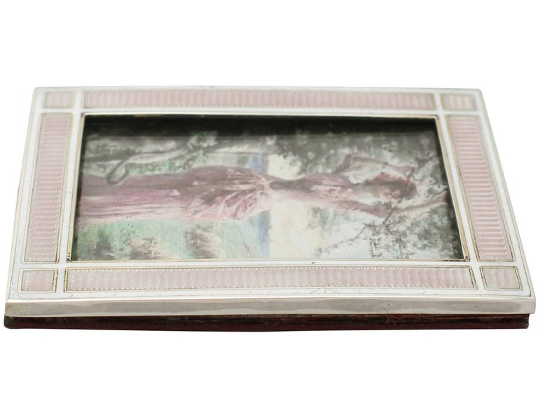 Antique Edwardian Sterling Silver and Enamel Photograph Frame For Sale 2
