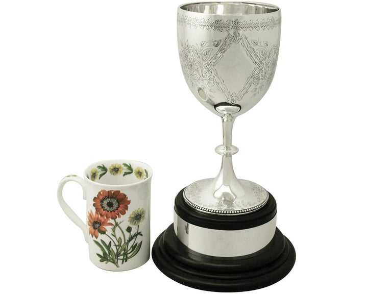English Sterling Silver Presentation Cup by Charles Stuart Harris, Antique Victorian For Sale