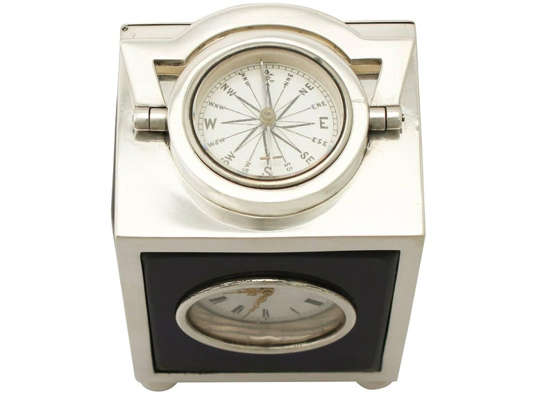 Victorian English Sterling Silver Travelling Clock or Compass For Sale 1