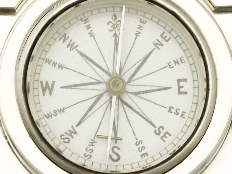 Victorian English Sterling Silver Travelling Clock or Compass For Sale 2