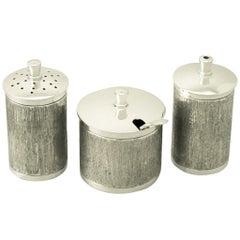 Vintage Art Deco Style 1973 Sterling Silver Three-Piece Condiment Set