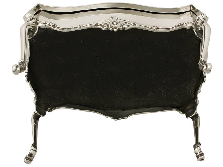Sterling Silver 'Card Table' Jewelry Box, Antique Edwardian For Sale 4