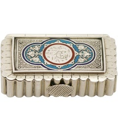 Victorian English Sterling Silver and Enamel Vesta Box