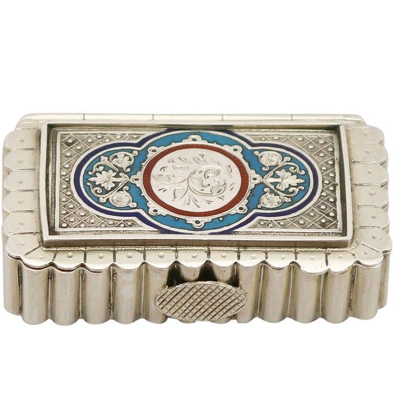 Victorian English Sterling Silver and Enamel Vesta Box For Sale