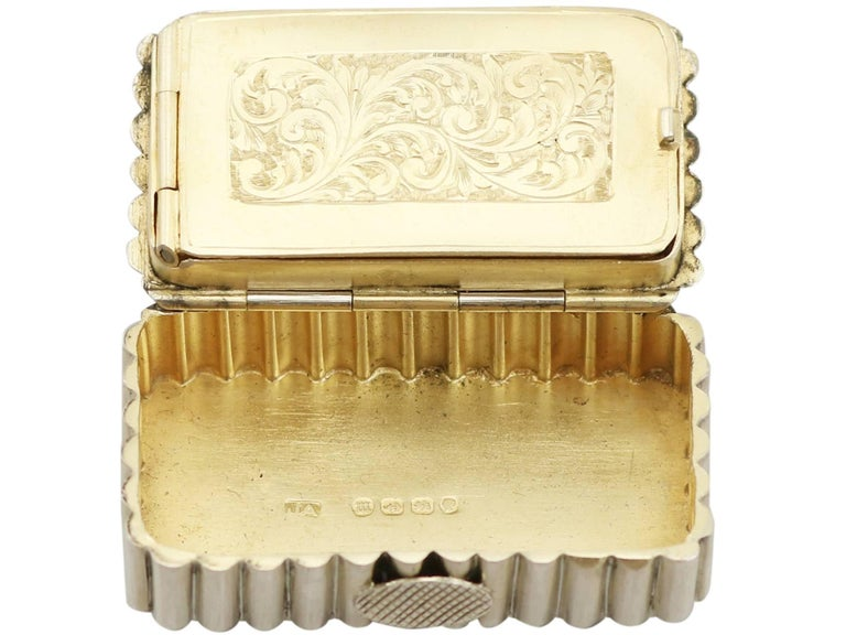 Late 19th Century Victorian English Sterling Silver and Enamel Vesta Box For Sale