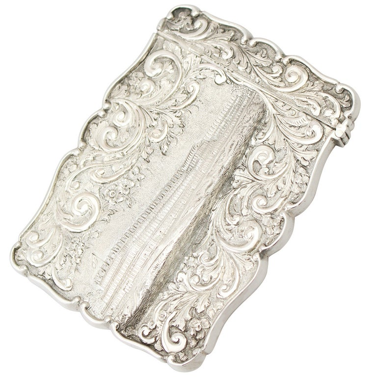 Antique 1850 Victorian Sterling Silver Card Case  For Sale