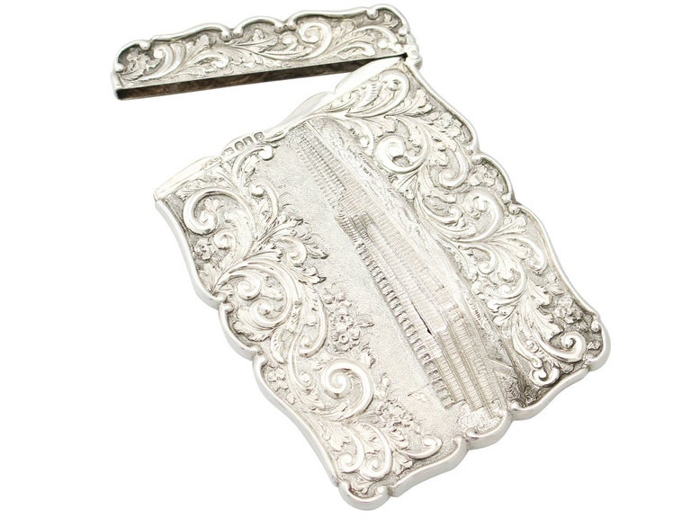 English Antique 1850 Victorian Sterling Silver Card Case  For Sale
