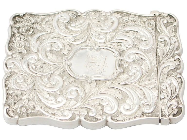 Mid-19th Century Antique 1850 Victorian Sterling Silver Card Case  For Sale