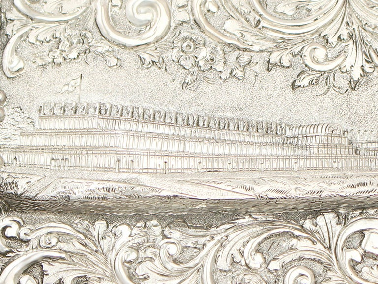 Antique 1850 Victorian Sterling Silver Card Case  For Sale 2