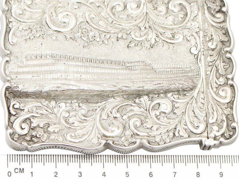 Antique 1850 Victorian Sterling Silver Card Case  For Sale 4