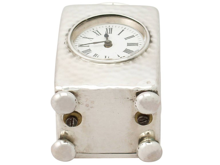 Victorian Sterling Silver Boudoir Clock For Sale 4