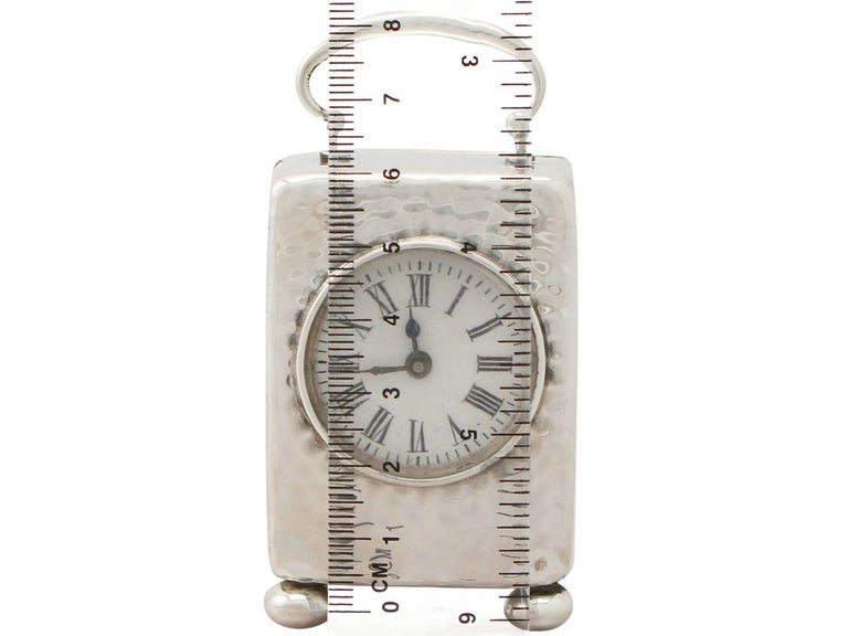 Victorian Sterling Silver Boudoir Clock For Sale 5