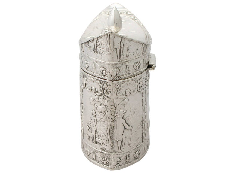 1880s Antique Dutch Silver Tea Caddy In Excellent Condition For Sale In Jesmond, Newcastle Upon Tyne
